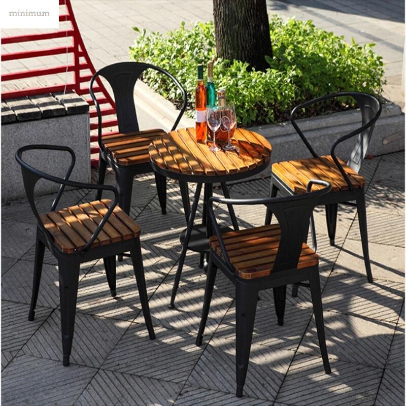 休闲桌椅组合庭院阳露台户外花园防腐木桌椅长方形1桌6椅140*70ps塑木