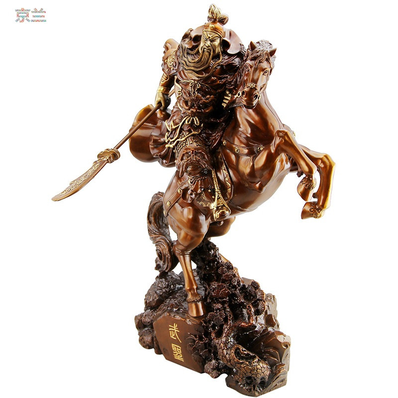 jinglan 京兰礼品之家 骑马关公摆件纯铜关公像关公佛像关羽武财神关
