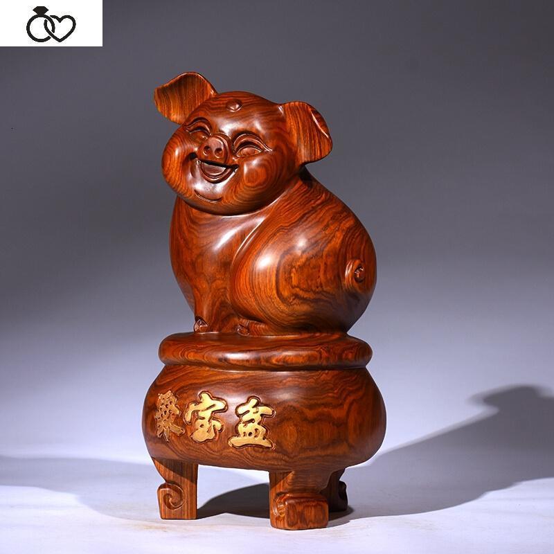 jinglan木雕发财猪十二生肖猪摆件花梨实木雕刻家居红木工艺品