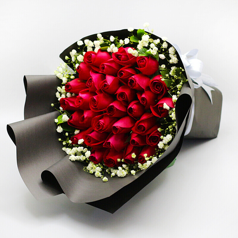 乐山鲜花同城配送速递3朵11朵33朵红玫瑰生日纪念日花束盎然