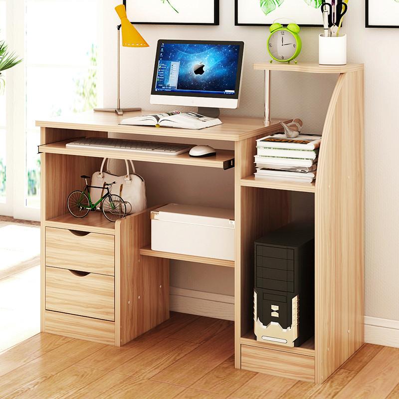 长80cm小型台式电脑桌家用单人书桌带书架卧室省空间小学生写字台