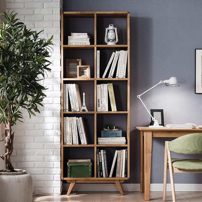 现代简约北欧实木格子书柜储物书橱立柜儿童卧室书房落地置物书架