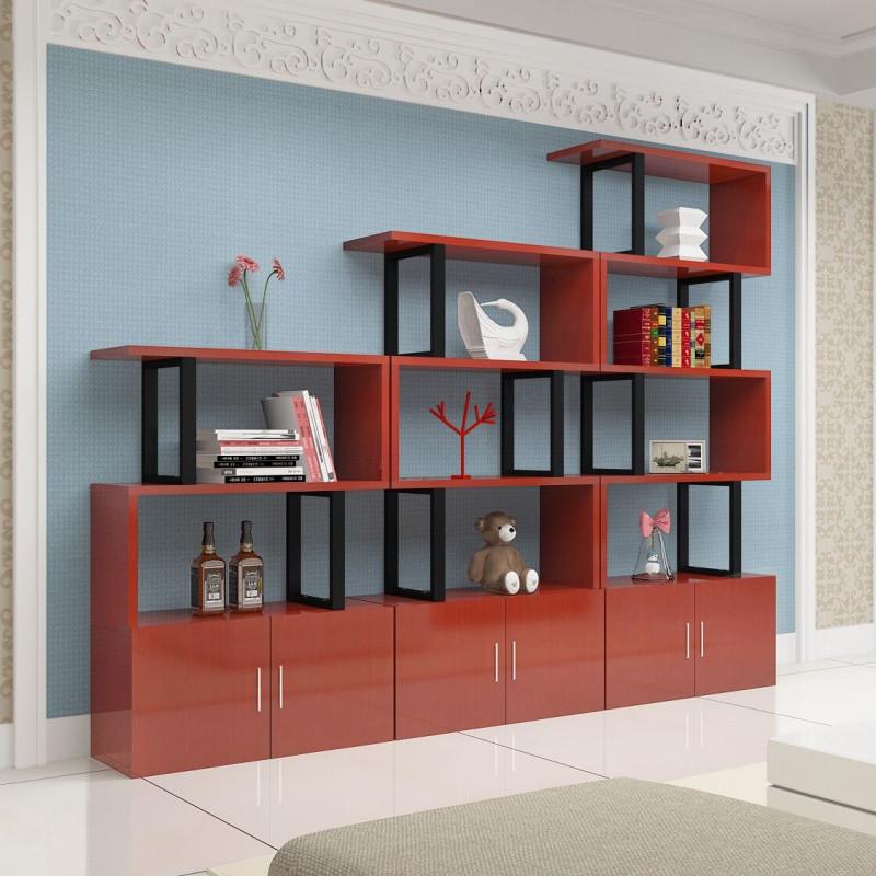 簡約現代小柜子自由組合客廳儲物柜定制帶門格子柜書柜書架置物架