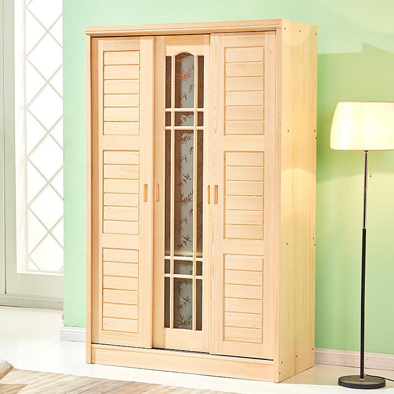 实木衣柜推拉门4门大衣柜儿童移门衣柜简约现代卧室家具松木衣柜