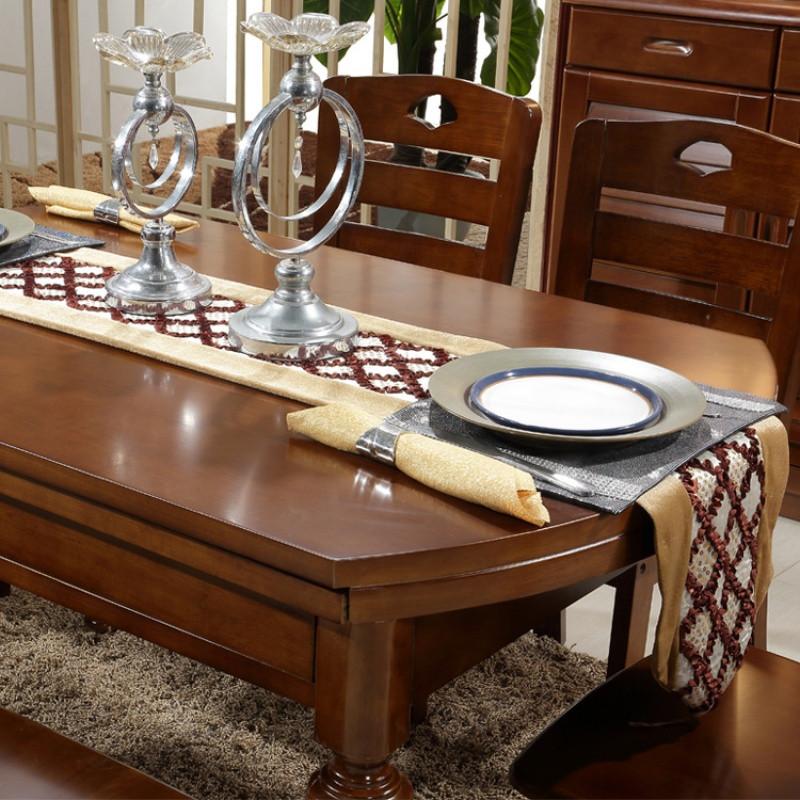 实木餐桌椅组合可伸缩折叠圆桌跳台4人6人现代简约餐厅家具