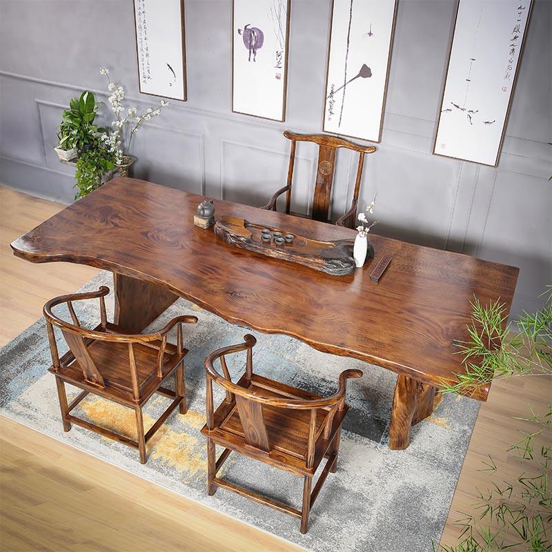 茶桌椅组合 新中式仿古功夫茶桌茶台 实木原木茶几禅意喝茶泡茶桌