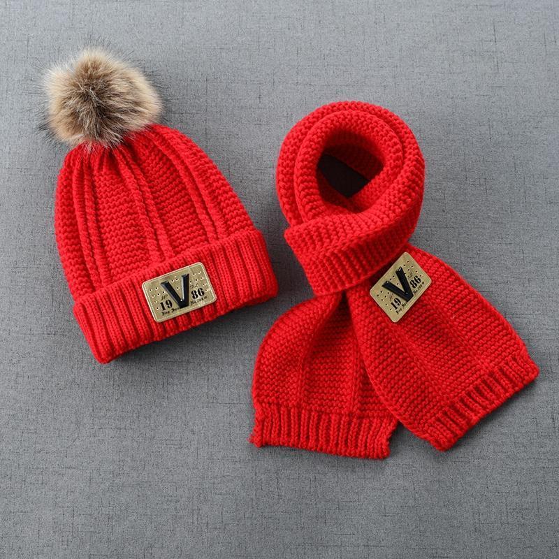 新款儿童帽子秋冬宝宝2加绒6男童毛线帽围巾套装女4岁