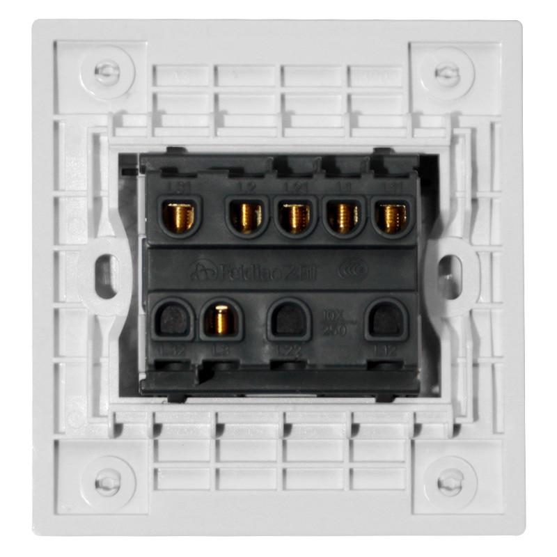 飞雕格子纹 d1魅影 86型三开单控开关 3三位电工面板墙壁开关插座带