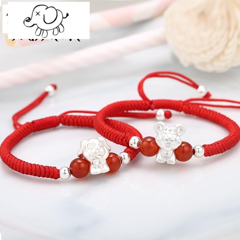 [情人节礼物99纯银十二生肖儿童手链男女宝宝婴儿手绳转运珠红绳手工