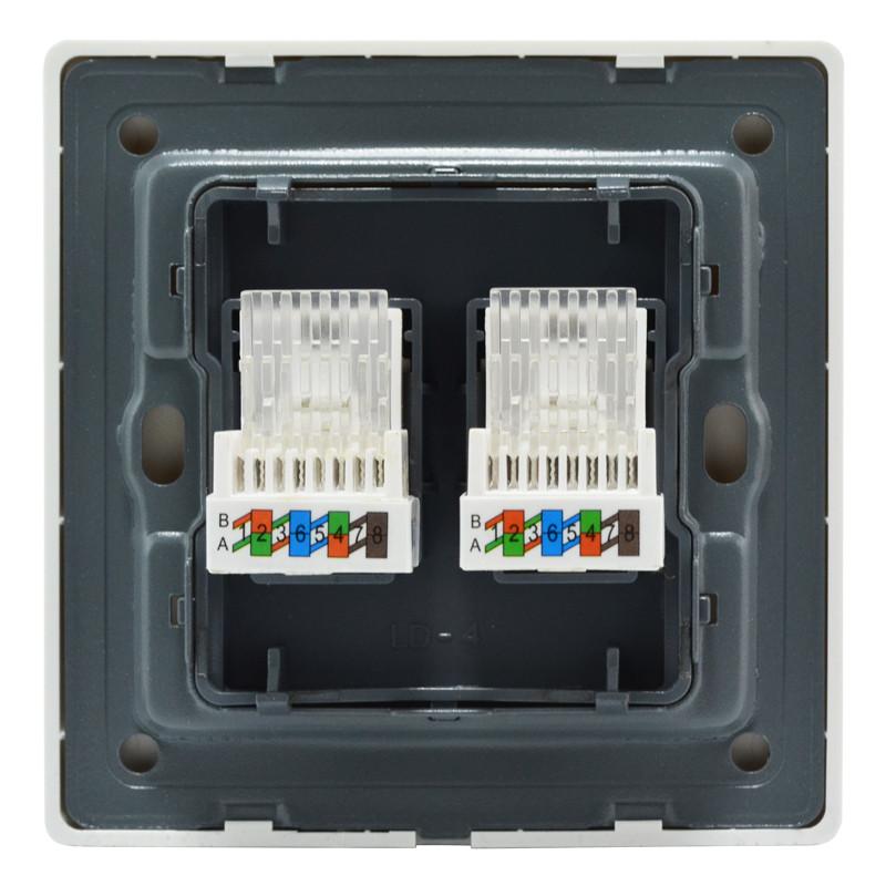 奇胜开关插座面板 二位电脑插座 双网络网线面板86型暗装