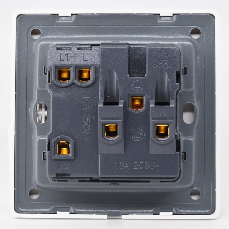 奇胜开关插座面板 一开双控五孔插座 二三插带开关10a