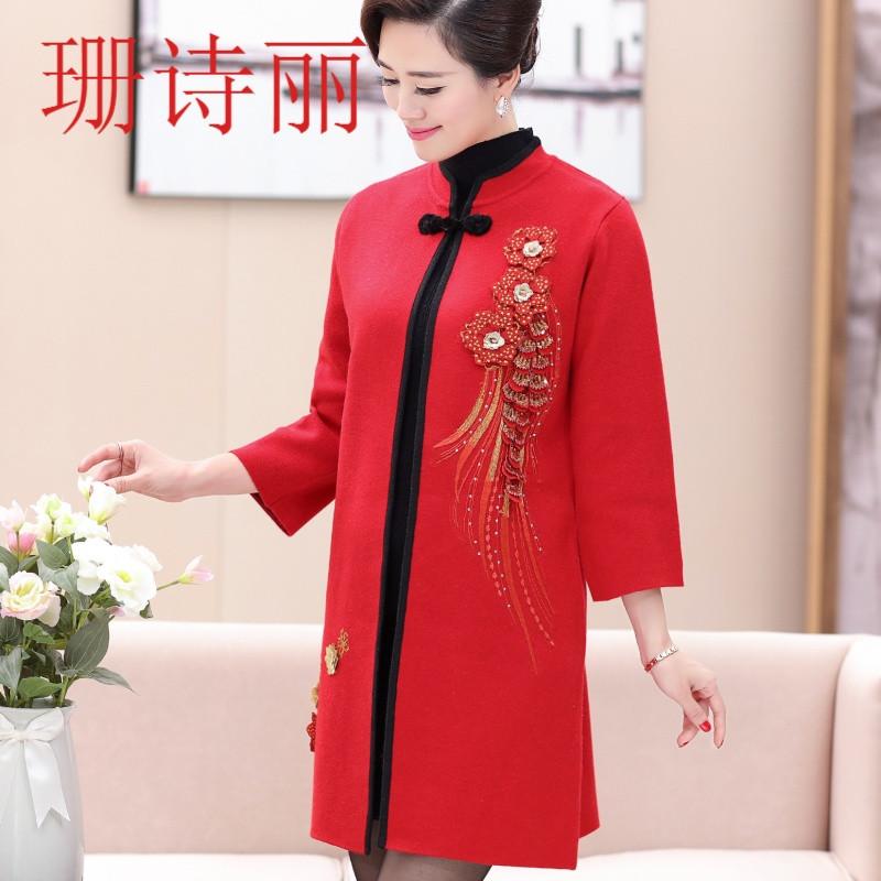珊诗丽参加儿子女儿婚礼妈妈装礼服中长款外套衣服中国风婆婆装婚宴