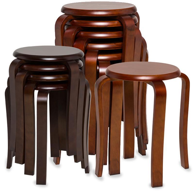 高凳子 圆凳 实木凳子 凳子时尚圆凳 创意 餐桌凳子 家用 曲木图片