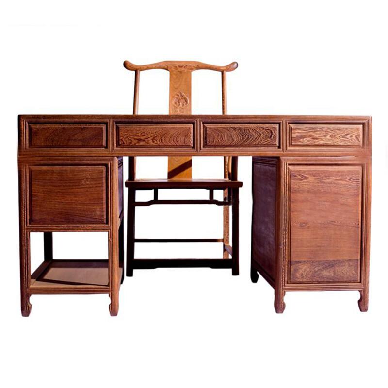 雞翅木寫字臺寫字桌辦公桌仿古書桌家具中式實木書桌圖片