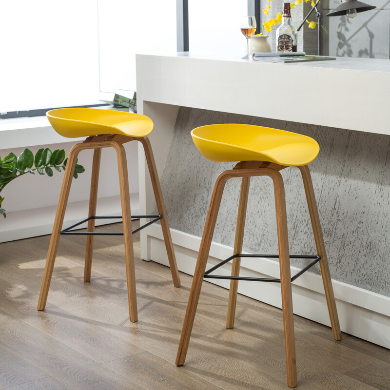 北欧实木吧台椅子吧椅现代简约酒吧椅前台高脚凳吧凳家用