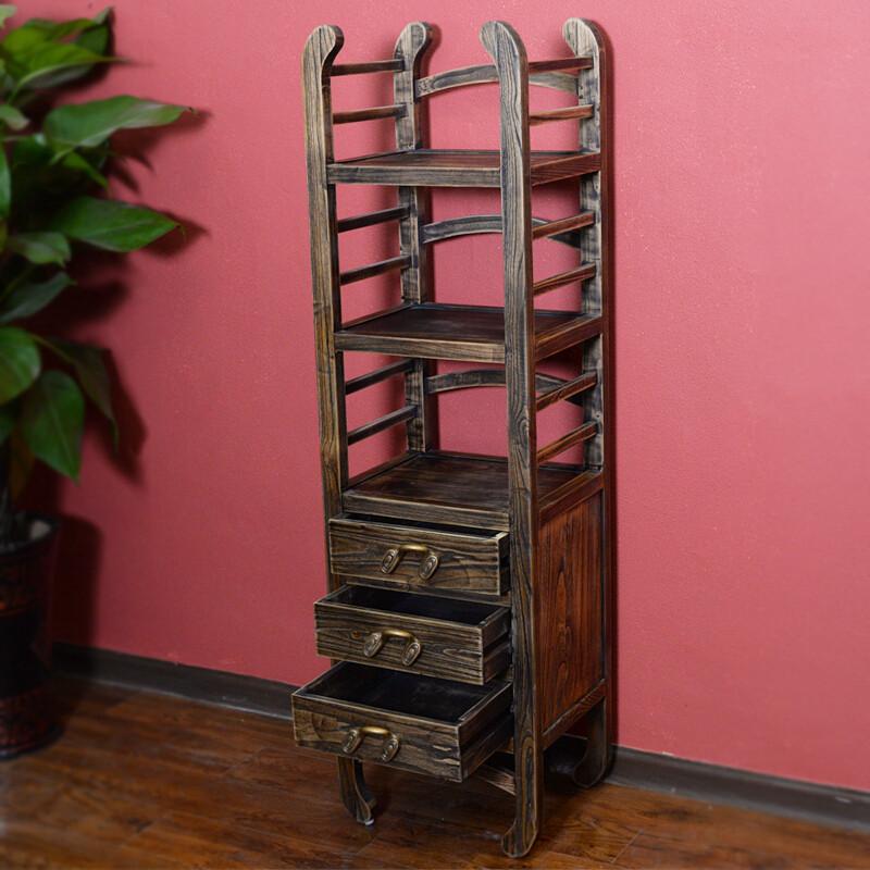 创意新中式全实木仿古摆件博古架装饰品转角柜玄关柜图片