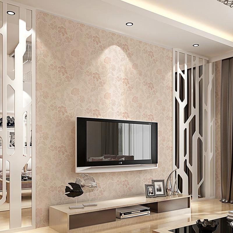 新中式现代田园无缝墙布客厅小清新花纹墙纸电视背景墙无纺布壁布图片
