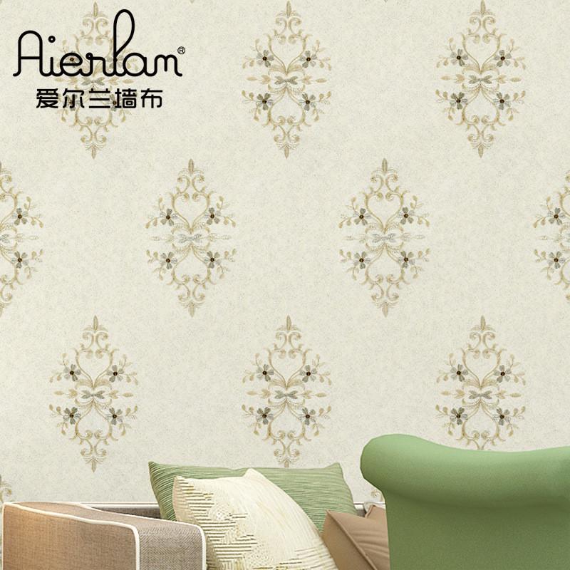 简欧式高端刺绣墙布立体花纹现代中式壁布大气无纺布绣花墙布厂家