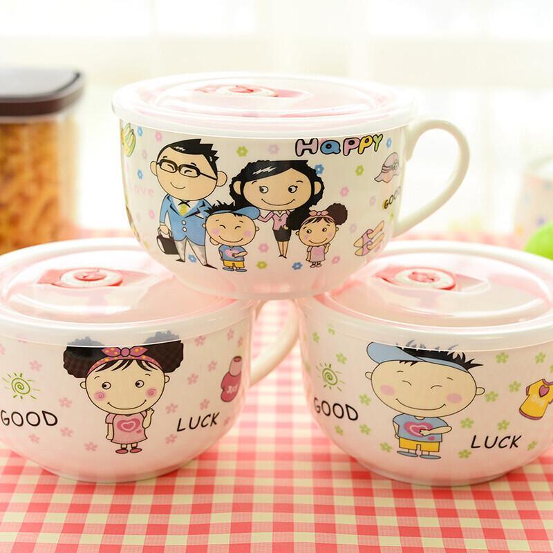 日式陶瓷汤面碗可爱创意卡通泡面杯带盖带把饭碗筷便当饭盒套装