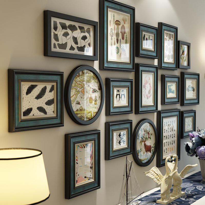 实木照片墙装饰美式复古客厅相框墙欧式挂墙现代简约组合画图片