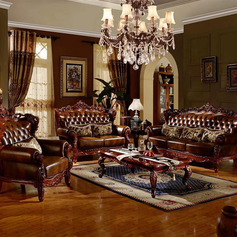 爵尼 复古法式客厅家具实木美式乡村沙发 新古典欧式沙发组合图片