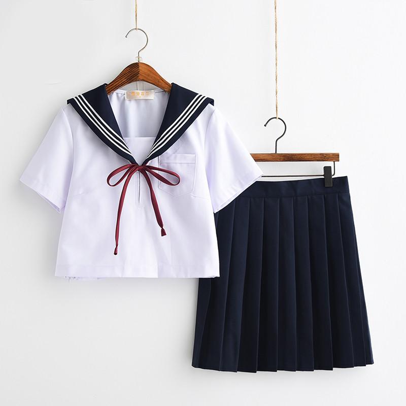 日系jk制服套装软妹可爱冬水手服开衫毛衣女校服班服学生装百褶裙