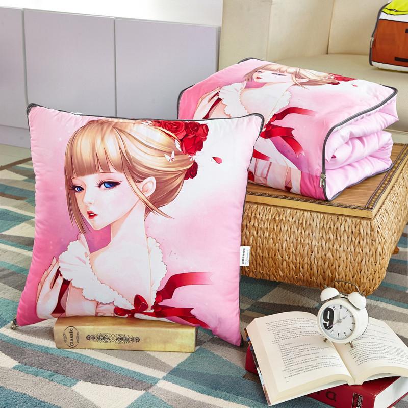 3d多功能汽车抱枕被子两用大号 办公室折叠靠垫沙发可爱小靠枕