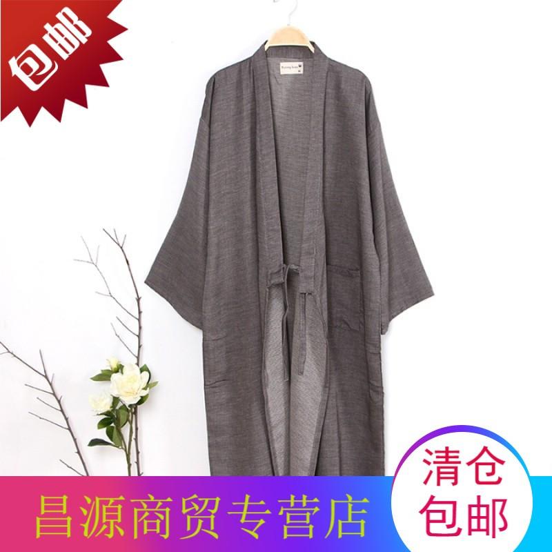 春夏日式和风睡袍男纯棉纱布汗蒸汉服 和服睡衣长款开衫浴袍浴衣