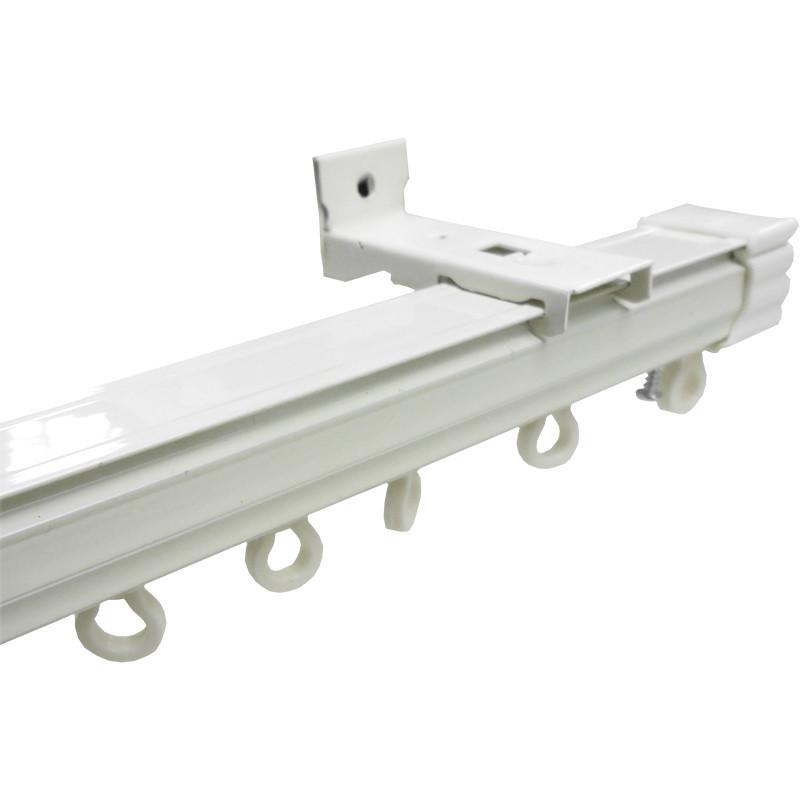 铝合金轨道窗帘杆纳米静音滑道顶装侧装墙装滑轨双轨安装配件滑轮