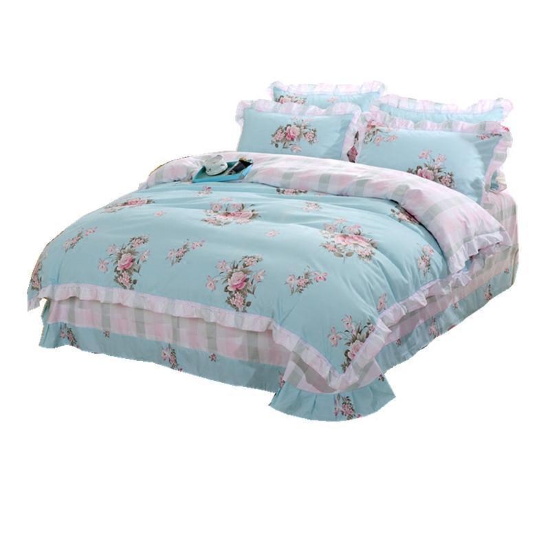 全棉可爱公主风纯棉2.0m被套床上用品套件韩版学生床单四件套被罩