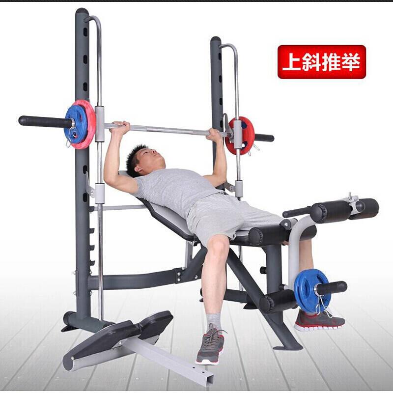 家庭健身器材_轨道家用多功能举重床套装卧推床深蹲架杠铃架卧推器健身器材
