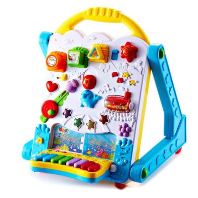 澳貝(AUBY) 正品 益智玩具 電子多功能學習桌 嬰幼兒童學步機拼插音樂寫字板電子琴463439DS