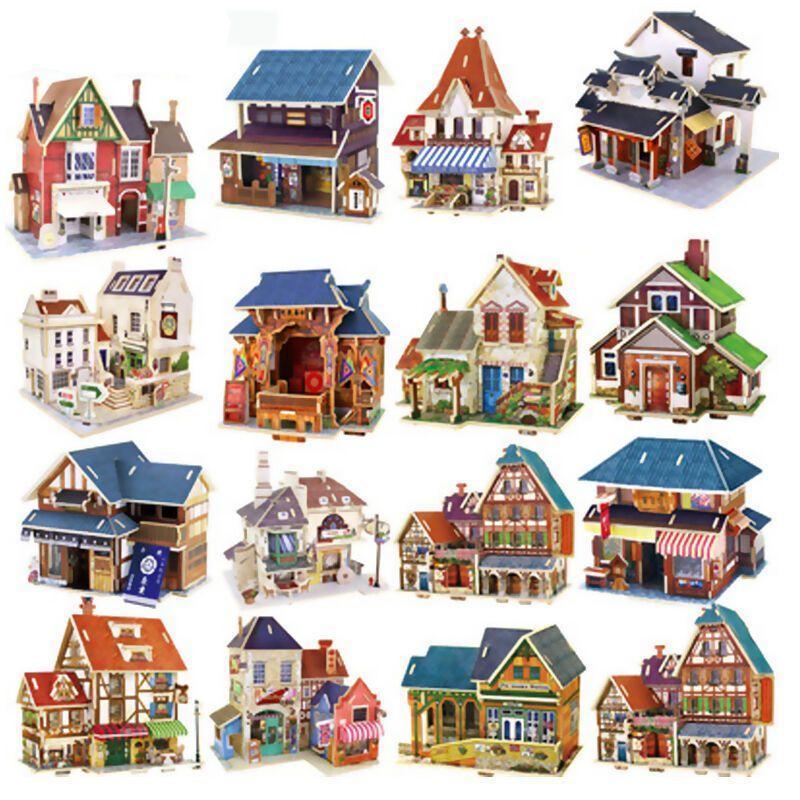 3d立体拼图木质diy手工拼图建筑模型儿童积木拼装拼插