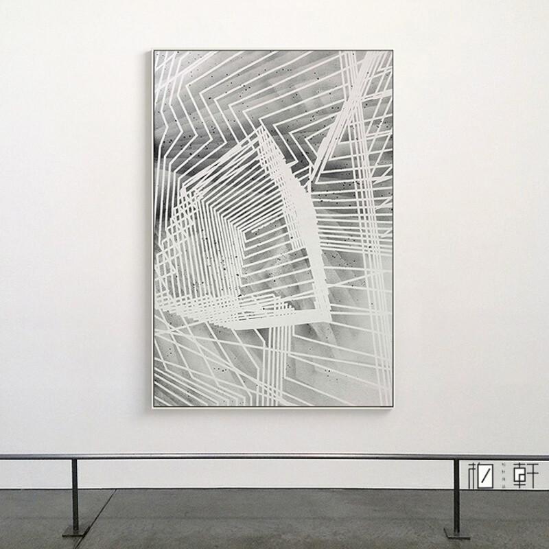 现代简约抽象几何线条装饰画办公室挂画灰色调壁画立体空间