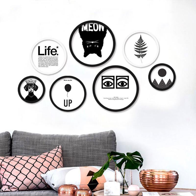 装饰画简约北欧风圆形有框黑白艺术居家客厅沙发背景墙组合画