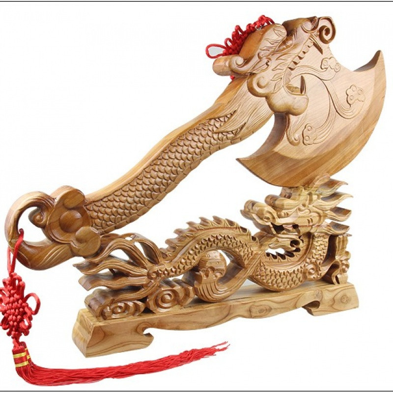 桃木斧子龙头手斧睚眦斧头挂件木雕刻工艺摆件结婚坐福饰品