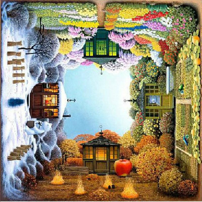 【】diy数字油画 客厅风景花卉手绘油彩装饰画旋转的四季