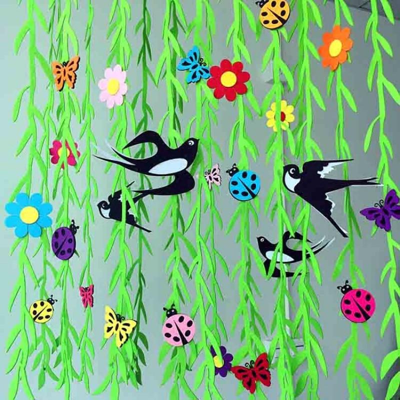 幼儿园装饰教室走廊环境布置 客厅商场店铺空中吊饰挂饰柳条燕子