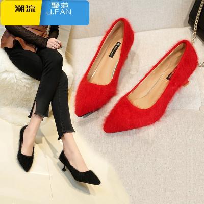 聚范潮流女鞋秋冬款高跟鞋女浅口绒面毛毛单鞋尖头细跟低帮红色婚鞋一脚蹬女鞋