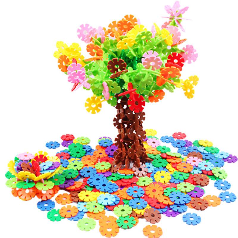 雪花片立体拼图加厚塑料拼插积木10色大号儿童建造拼装玩具3岁