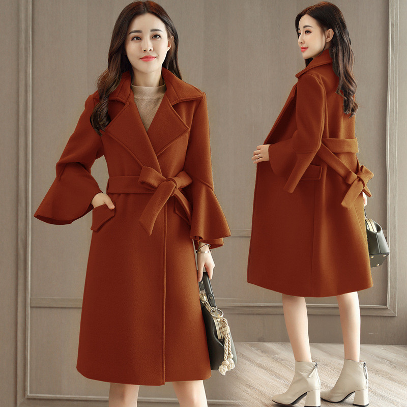 韩版外套毛呢半长款女图片