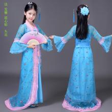 汉服童装儿童古装古筝演出服女童仙女装 公主 贵妃拖尾古代衣服图片