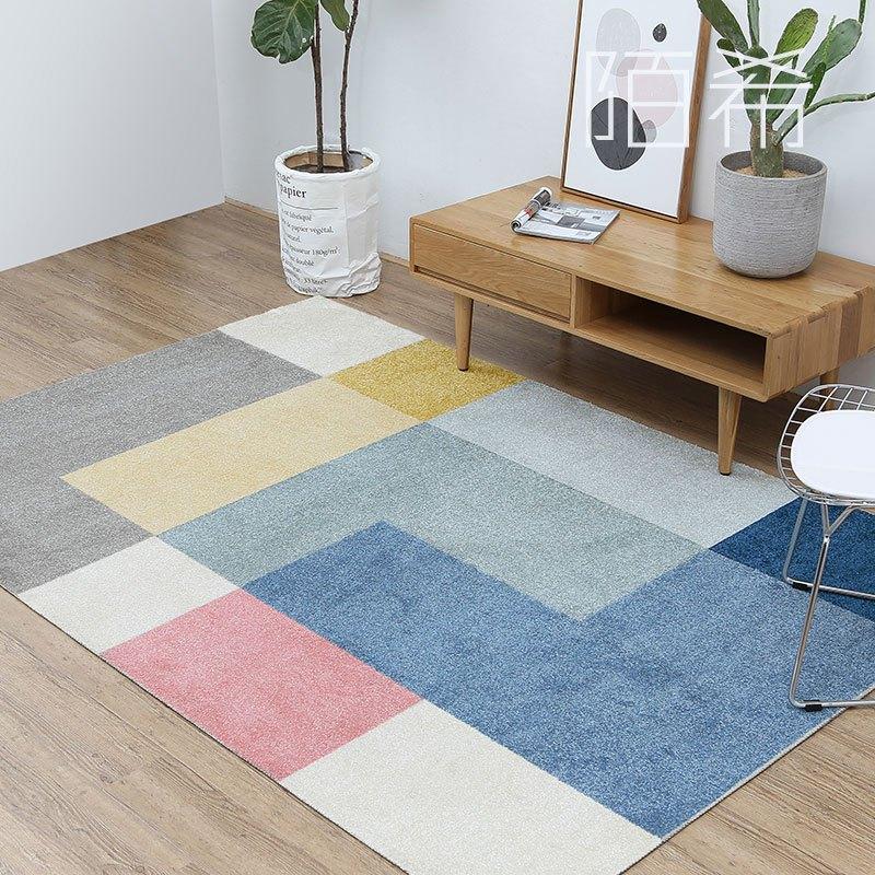 陌希 北欧简约地毯几何设计图案客厅茶几小地垫 现代卧室拼色地毯