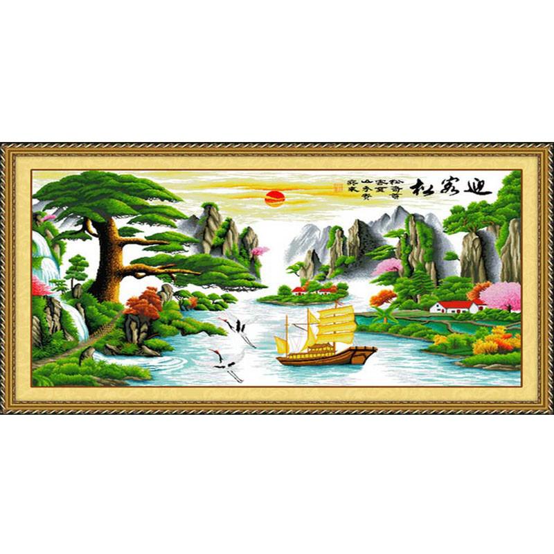 迎客松十字繡山水畫風景大幅客廳簡約現代線繡棉線小幅印花