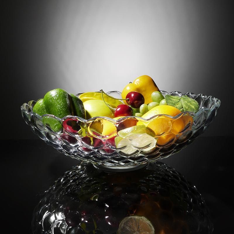 大号果盘水晶玻璃透明欧式波点创意水果干果盘子大果盆篮