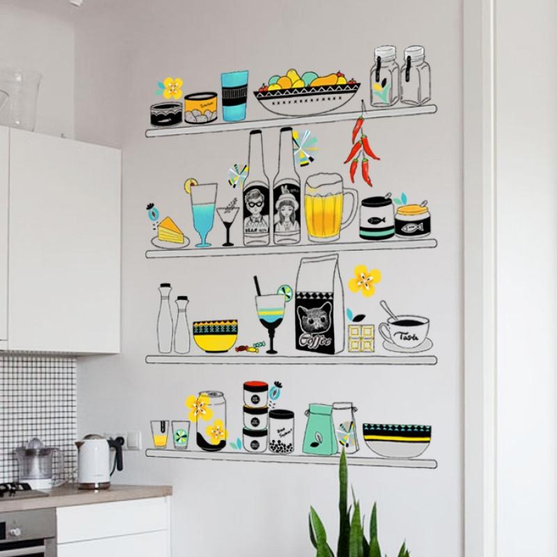 时尚餐厅厨房橱柜小清新置物架墙贴纸文艺客厅沙发背景装饰品贴画