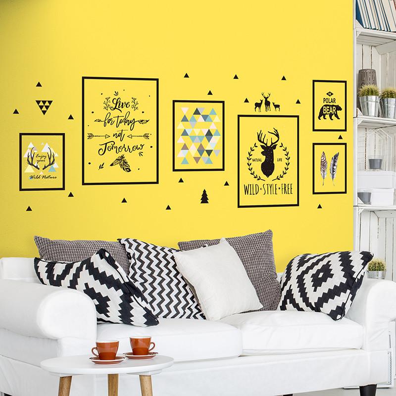 北欧风墙贴照片框鹿头壁纸大学生宿舍墙面装饰布置自粘贴画图片