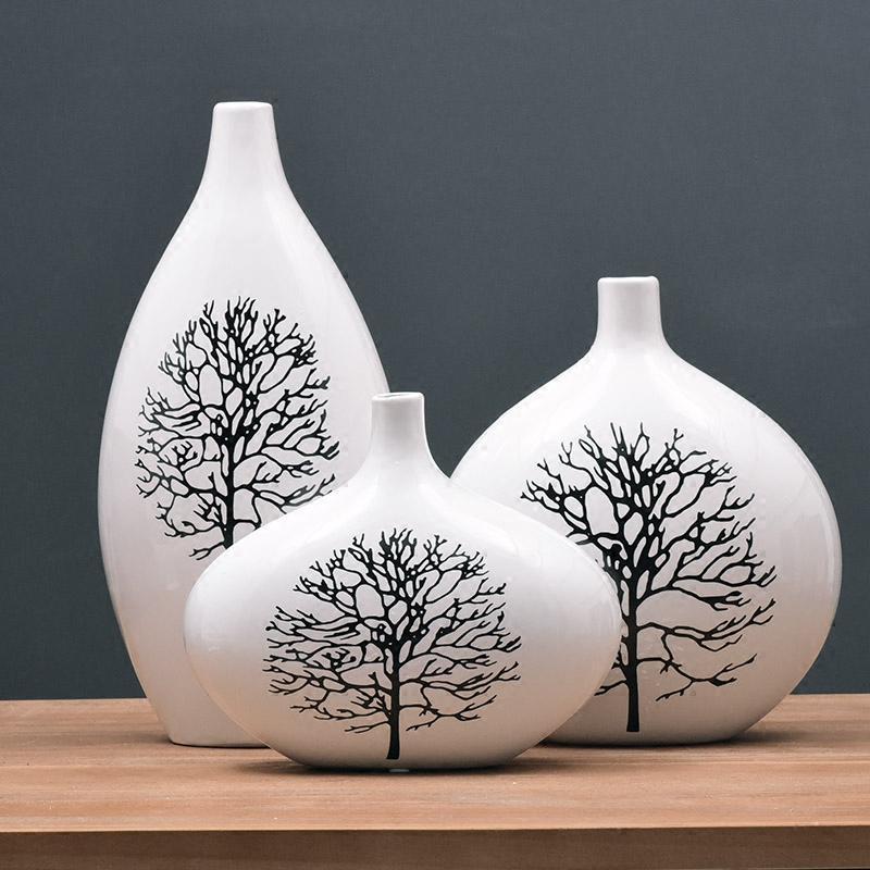 客厅装饰品电视柜摆件家居饰品现代陶瓷花瓶三件套 白桦树图片