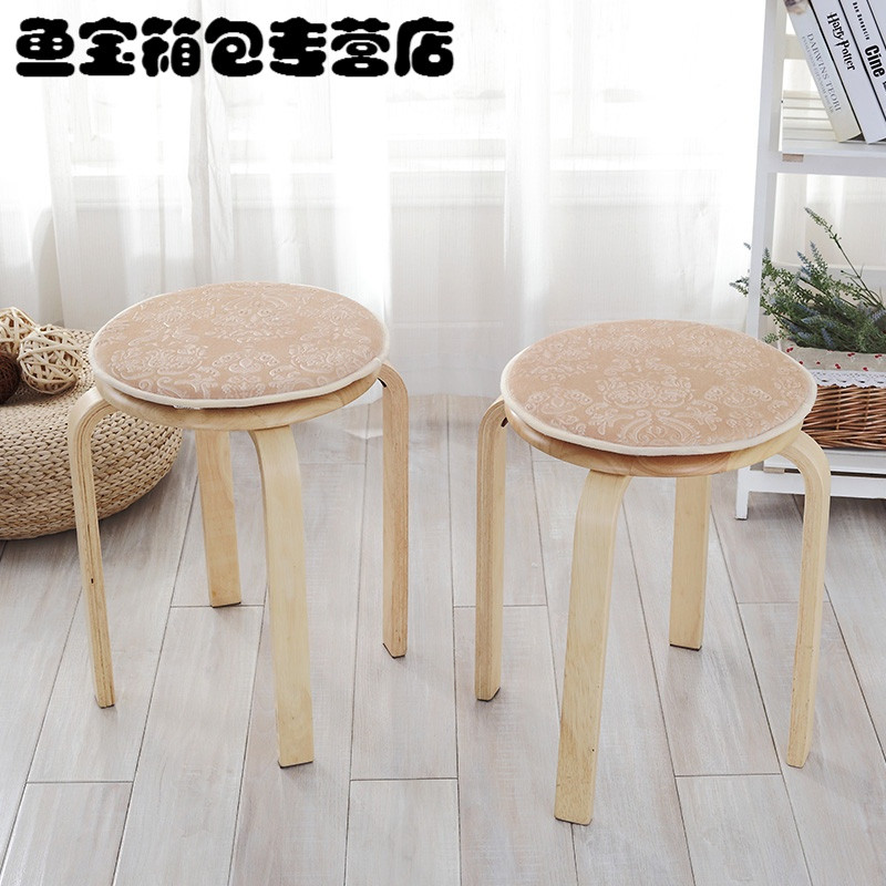 四季坐垫小圆凳子垫套罩欧式圆形坐垫单人圆凳子防滑圆椅垫