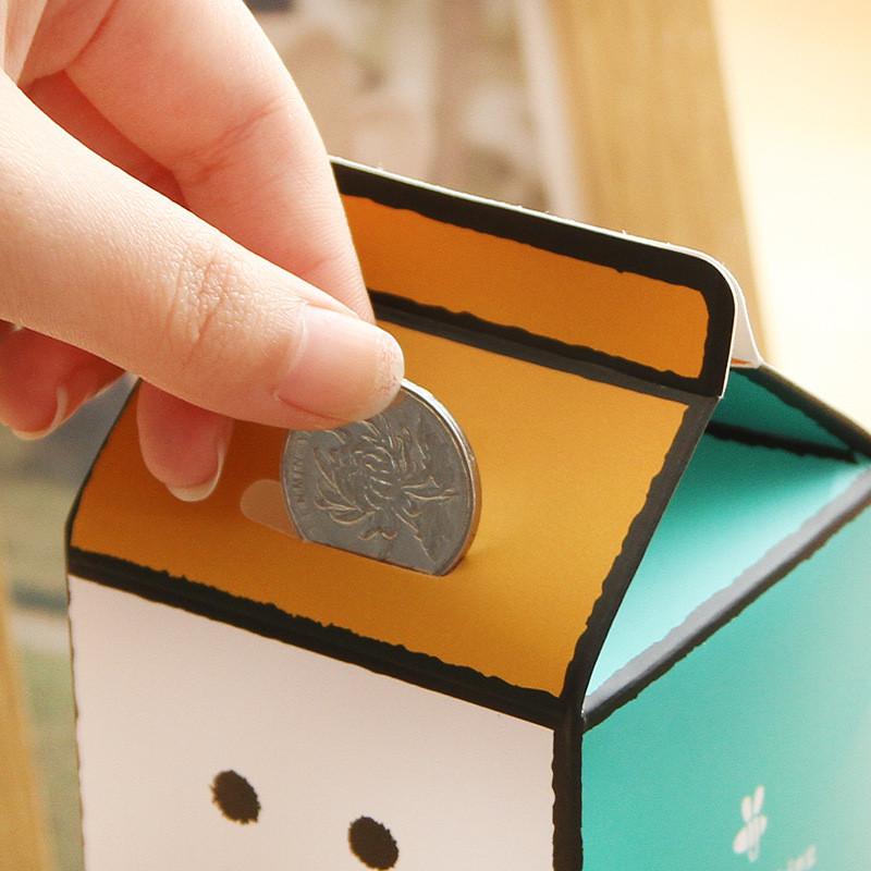 创意卡通纸质可爱diy手工制作存钱盒收纳盒卡纸牛奶盒